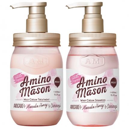 【樱花限定】日本AMINO MASON 氨基酸无硅油洗护套装 限定樱花款