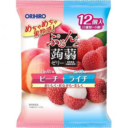 日本ORIHIRO立喜乐 蒟蒻果汁果冻 白桃荔枝混合装 20gx12枚入