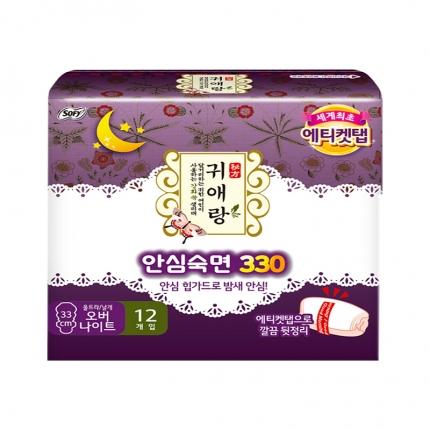 韩国LG贵爱娘 夜用超长卫生巾 33cm*12片