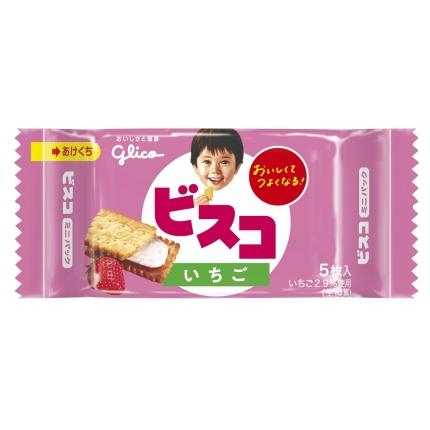 日本GLICO格力高 BISCO 乳酸菌草莓夹心饼干 5枚入